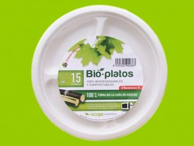 261mm Platos biodegradables redondos 3 C. de caña azúcar - Retail packs.